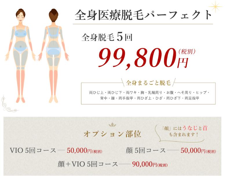 京都ビューティークリニックの脱毛料金