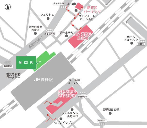 MIDORI長野付近の駐車場